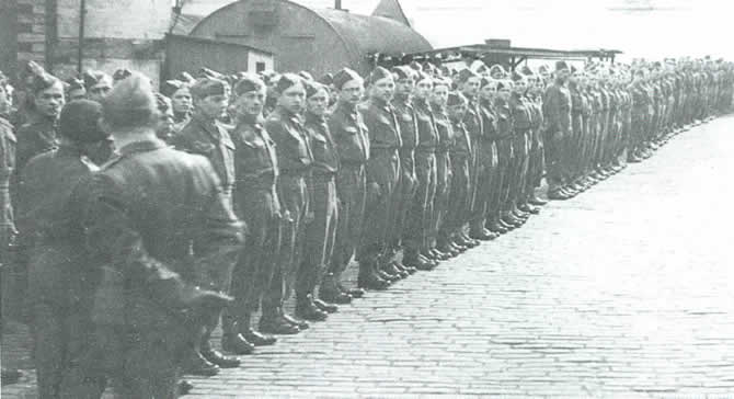 A roll call of the Polish soldiers stationed at Auchtertool Distribution Camp