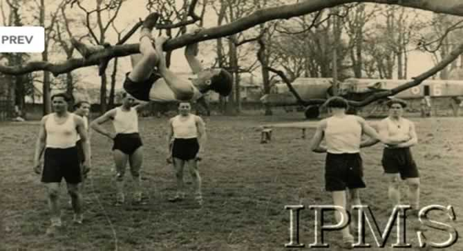 Malpy Gaj gymnastics at Largo House. Note the Whitley Bomber fuselage in the background.