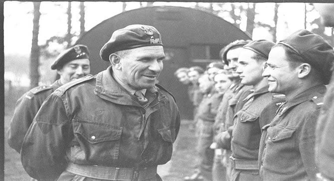 General Sosabowski inspects the Polish troops at Auchtertool Distribution Camp