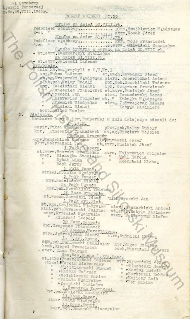 Daily Orders Of The HQ Squadron 1st Armoured Division Extract - 1942 08 29