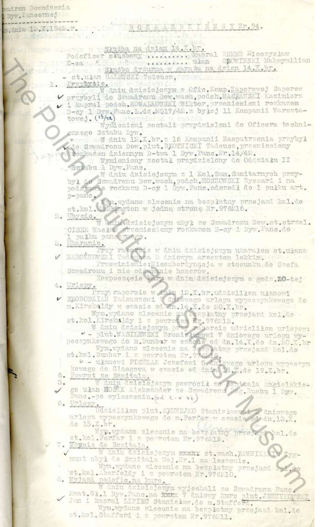 Daily Orders Of The HQ Squadron 1st Armoured Division Extract - 1942 10 13