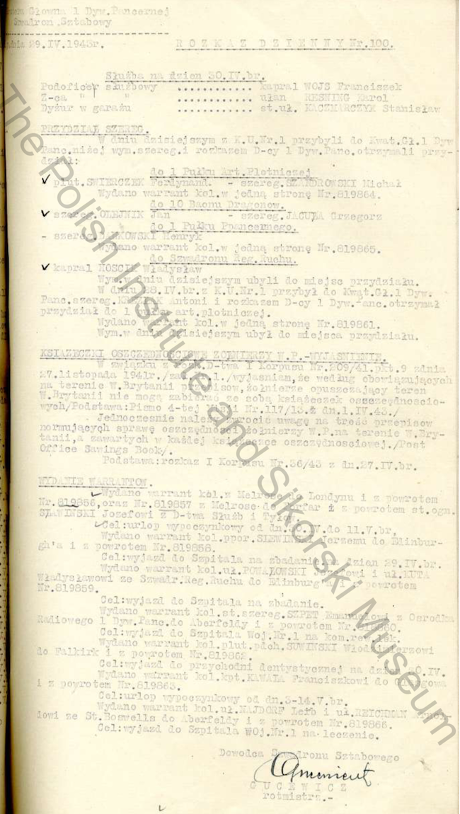 Daily Orders Of The HQ Squadron 1st Armoured Division Extract - 1943 04 29 Nr100
