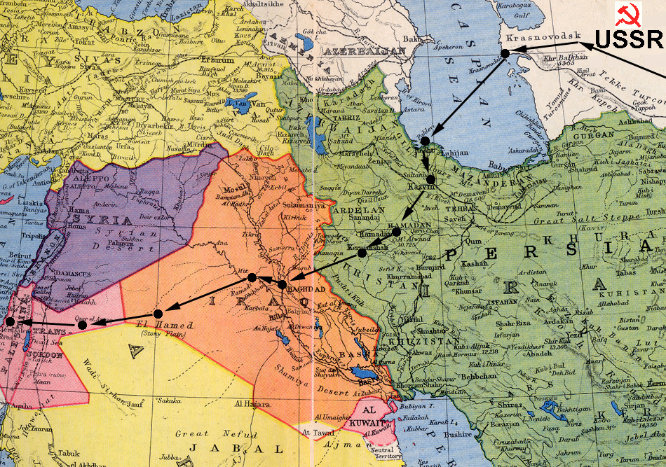 The evacuation route from the USSR to The Middle East